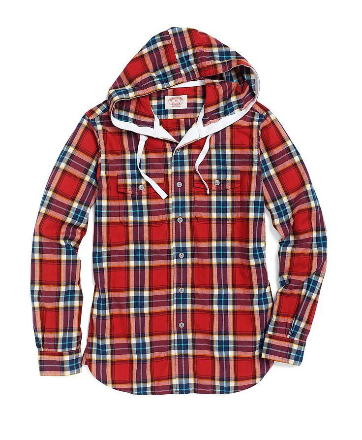 Extra-Slim Fit Flannel Herringbone Hooded Sport Shirt | Brooks Brothers