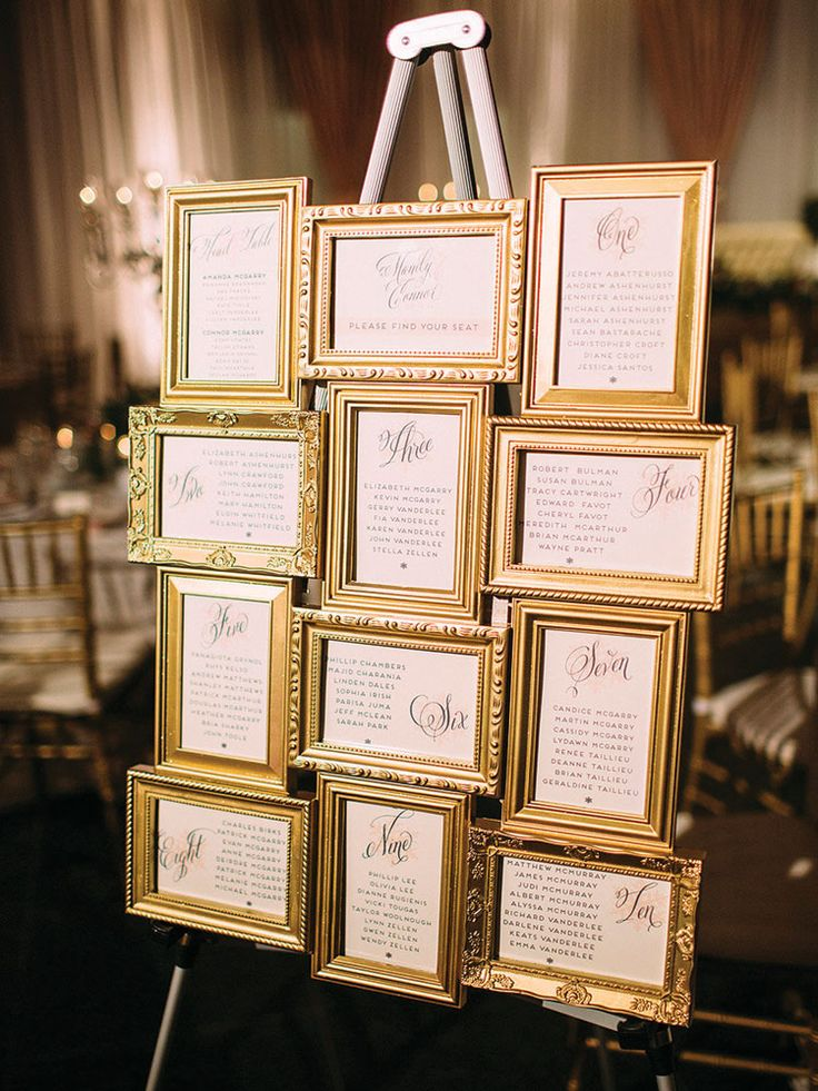 Such a cute table plan idea. Get lots of frames at thrift stores and spray them gold to match.