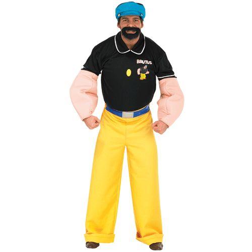 Een stoer Brutus kostuum, uit de bekende Popeye serie, voor volwassenen. Met dit stoere Brutus kostuum wint u vast het hart van uw Olijfje! Dit Brutus kostuum bestaat uit een shirt met buik en gespierde armen, broek, pet en een baard. Carnavalskleding 2015 #carnaval