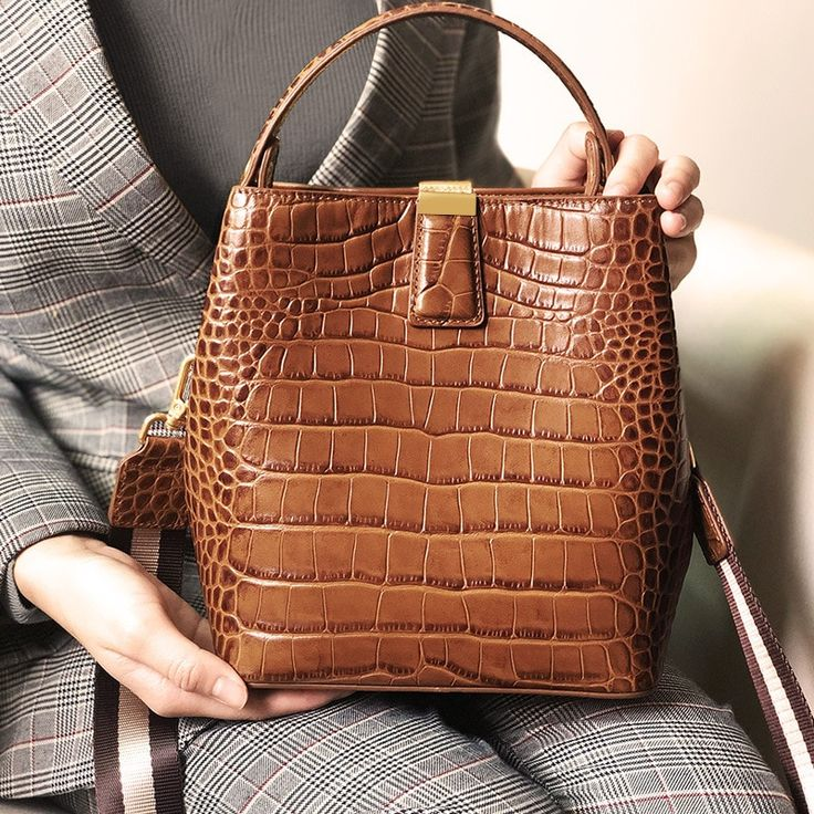 Luxury Alligator Pattern Full Genuine Leather Handbags Designer Women's Shoulder Bag Brand Design Vintage Bucket Bags