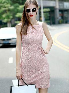 Vestido corto de encaje con tirantes sin mangas de color liso de encaje