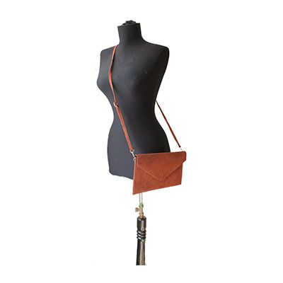 Lucia Italian Brown Leather Envelope Clutch Bag - £24.99