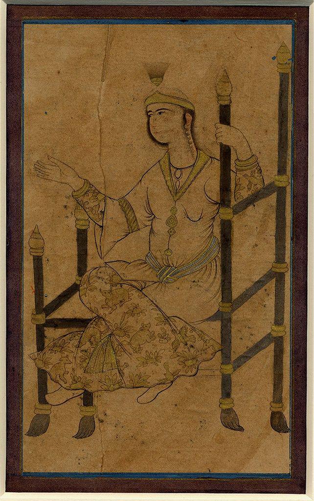 صورت فلکی«خداوند کُرسی» یا «خداوند اورنگ» یا «ذات الکرسی» (به انگلیسی: Cassiopeia) خداوند اورنگ نخستین بار توسط عبدالرحمان صوفی رازی با چشم غیرمسلح رصد شد و مورد مطالعه قرار گرفت. ذاتالکرسی به معنی دارنده کرسی است. زنی با دست دراز نشسته بر تخت نشان داده شده است ، مرکب، آبرنگ، نقره و طلا بر روی کاغذ. دوره صفویه، ۱۶۴۰ ترسایی. عرض: ۱۱ سانتی متر (تصویر) ارتفاع: ۲۲.۵ سانتی متر (ورق) عرض: ۱۴.۶ سانتی متر (ورق) مجموعه موزه بریتانیا، شماره ثبت 1914،0217،0.8 drawing Object typedrawing term details…