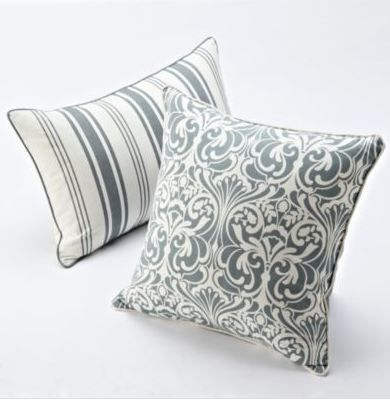 Add an elegant touch to your bed, couch or patio set with grey patterned pillows.