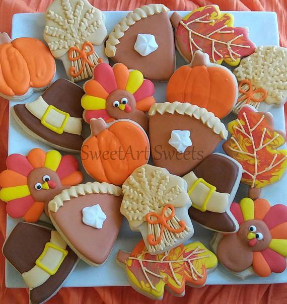 Thanksgiving cookies - 1 dozen - turkey cookies - pumpkin pie cookies - holiday cookies - pilgrim cookies - decorated cookies #affiliatelink
