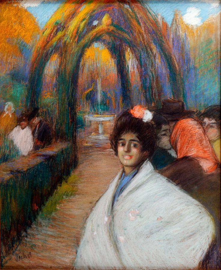 """Ramón PICHOT GIRONÉS (Barcelona, 1872 – Paris, 1925). """"Tarde en el parque"""", ca. 1898. Pastel on paper. Signed lower left. 62 x 51 cm, 90 x 79 cm (frame)."""