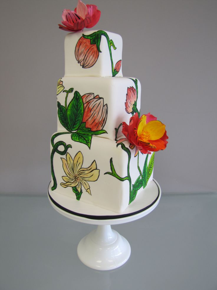 Painted Cakes | Painted Flower Wedding Cake