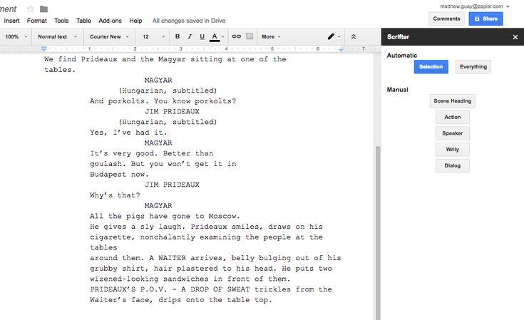 Scrifter screenplay for Google Docs