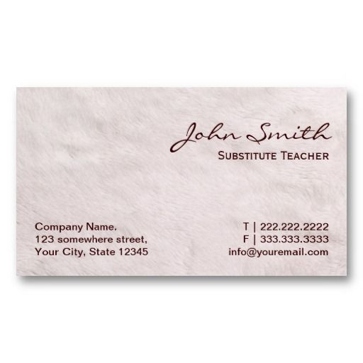 20 best substitute teacher business cards images on pinterest card white fur substitute teacher business card flashek Gallery