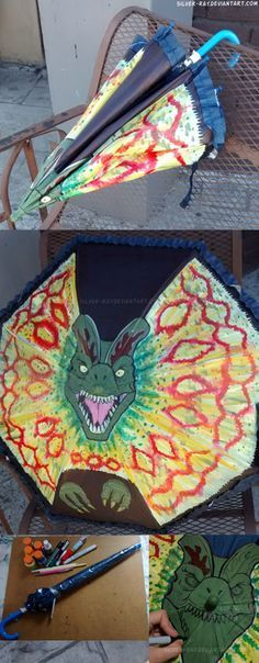 http://silver-ray.deviantart.com/art/Dilophosaurus-Umbrella-512909263 I painted a children's umbrella with a dilophosaurus dinosaur from the movie ' Jurassic Park ' Can't wait for Jurassic World! You can get my dinosaur book at http://amzn.com/1512103799