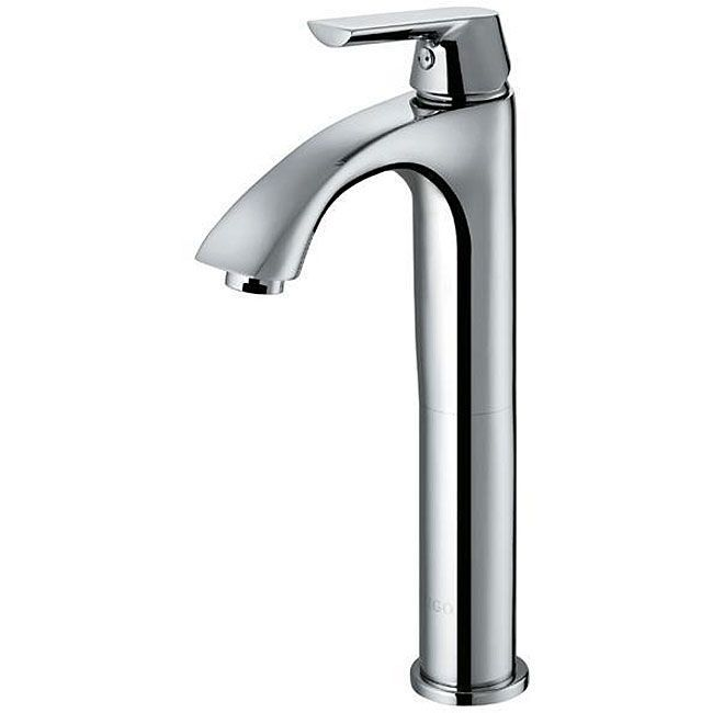 This VIGO vessel faucet features a chrome finish with a modern single lever for temperature control.