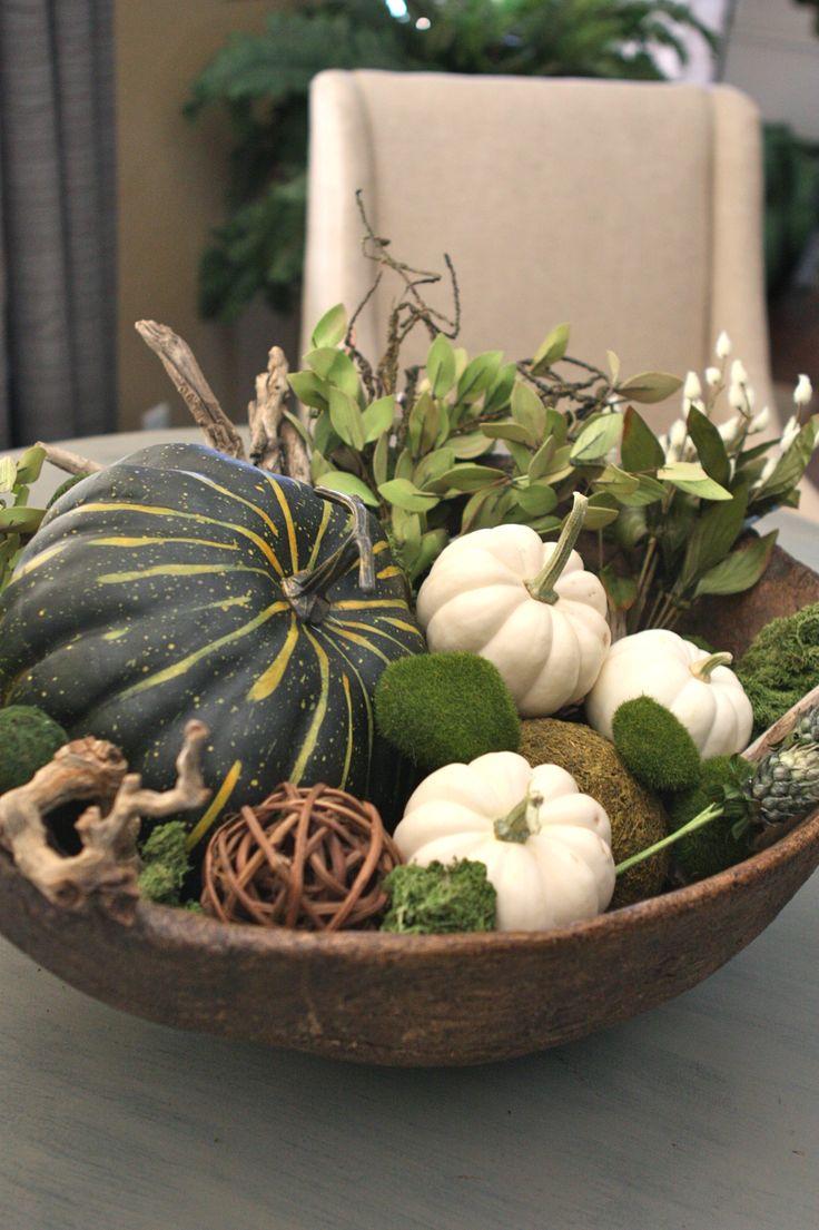 Fall / Autumn decor using squash and white pumpkins (baby boo white pumpkins)