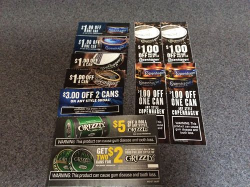 Coupons: $20 Copenhagen,Skoal, Grizzly Smokeless Tobacco Coupons -> BUY IT NOW ONLY: $6 on eBay!