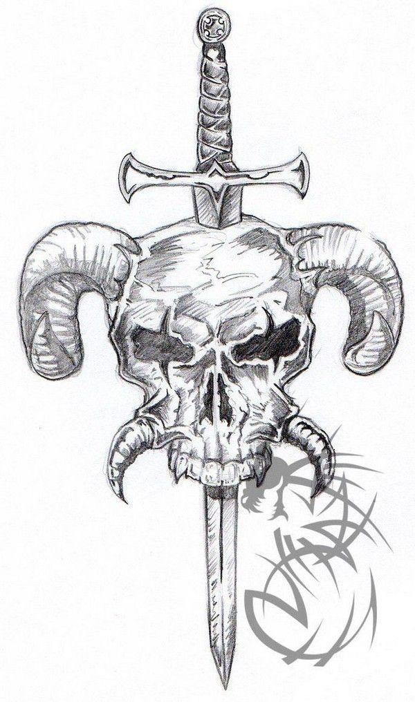 Sword In Horned Skull Tattoo Design