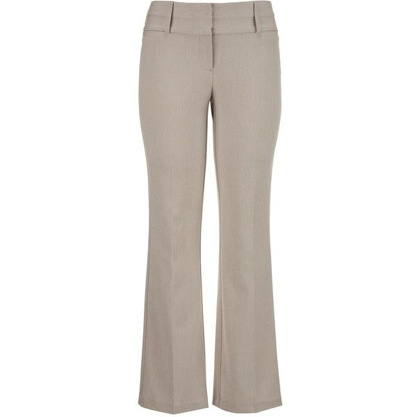 maurices The Smart Trouser In Khaki With Slimming Technology ($29) ❤ liked on Polyvore featuring pants, khaki, relaxed fit khaki pants, slim pants, plus size pants, slim fit trousers and plus size trousers