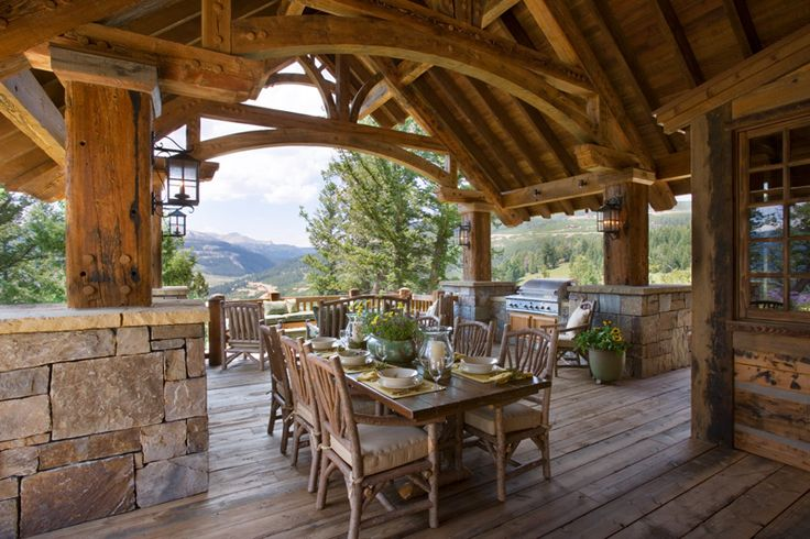 Covered deck log cabin pinterest covered decks for Log cabin porches and decks