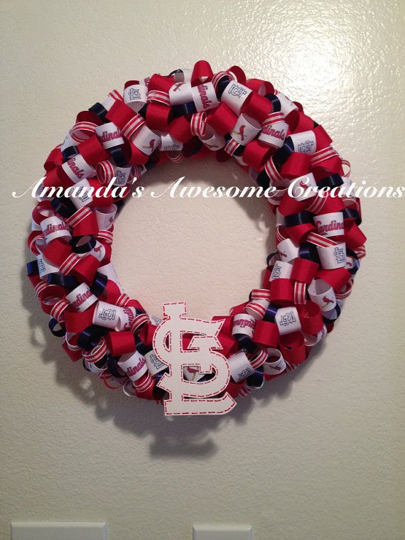 St. Louis Cardinals Baseball Wreath on Etsy, $35.00