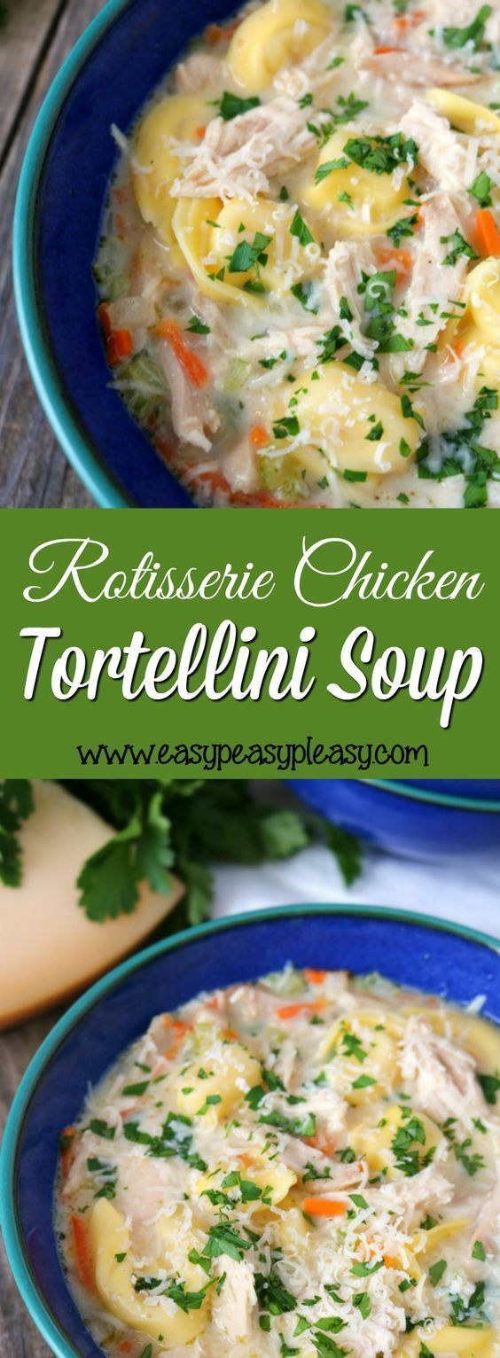 Rotisserie Chicken Tortellini Soup Recipe | Easy Peasy Pleasy - Mouthwatering Rotisserie Chicken Tortellini Soup will warm your tummy and warm your soul. #soup #souprecipes #homemadesoup #soups #easysouprecipes #easyrecipes #lunchrecipes #fallrecipes #winterrecipes