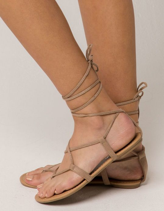 faa79ab9a8 CITY CLASSIFIED Lace Up Leg Wrap Nude Womens Sandals Capsule Wardrobe  Essentials, Cute Sandals,