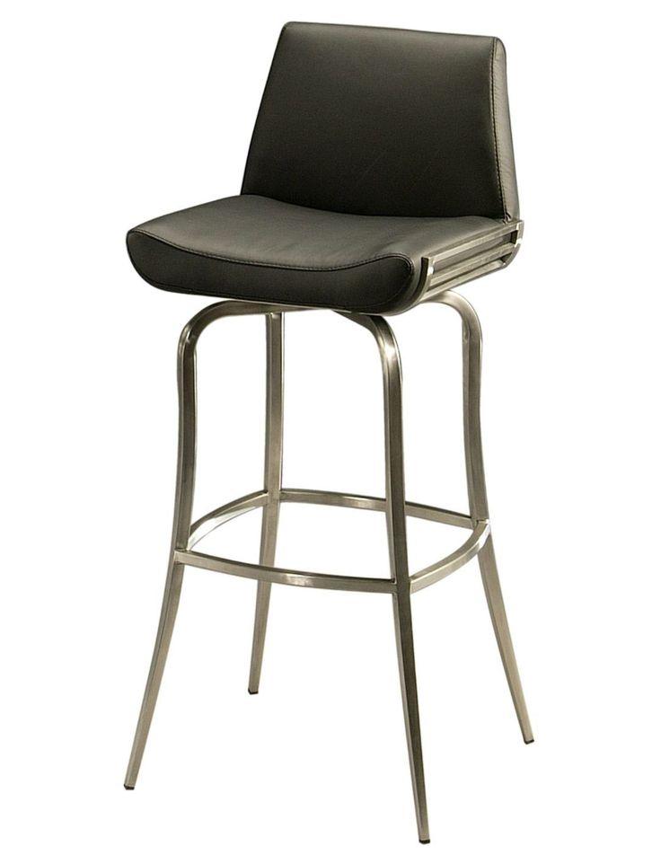 """Degorah 30"""" Bar Stool in stainless steel upholstered in Pu Black"""