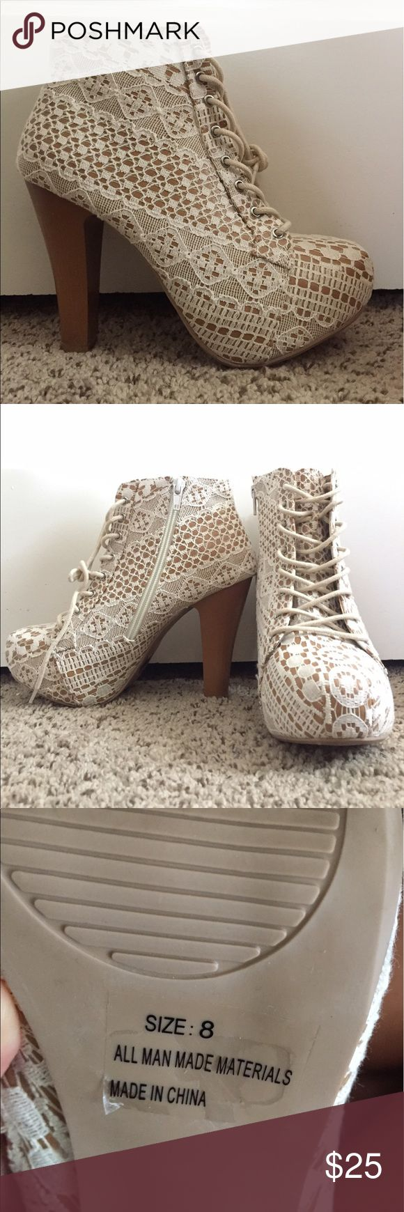 White Lace Heels These have never been worn! The white lace is a beautiful detail, these heels are stunning. They are a US 8. Charlotte Russe Shoes Heels