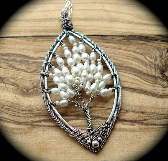 Tree of life necklace - Pearl necklace - Wire wrapped tree - Nature Jewellery - Wire wrap tree of life - June birthday - Pearl jewelry