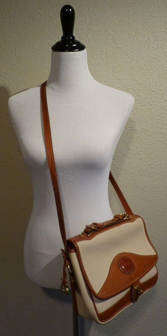 Vintage Dooney and Bourke Authentic Satchel Handbag Purse Leather Crossbody Tote Stone Cognac Brown $45