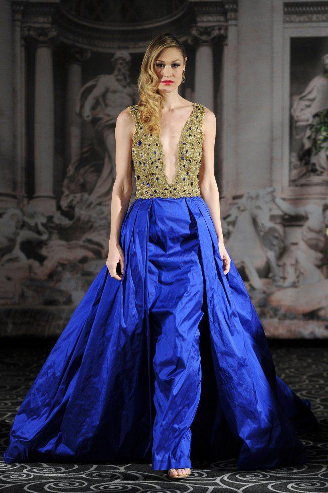 Robe de mariée de couleurs bleu et or Sarah Jassir / Color wedding dress blue and gold Sarah Jassir