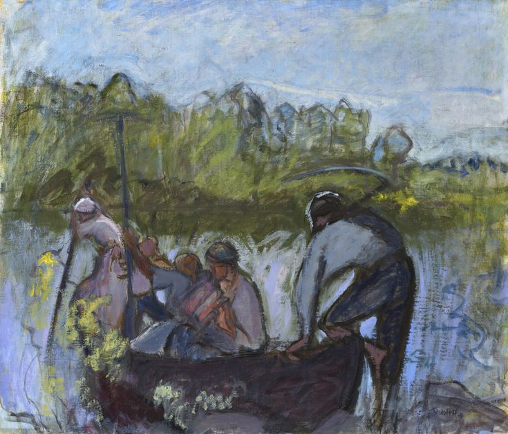 Harvesters in Boat II from 1924. / Ellen Thesleft. Man's connection to nature is one of the cornerstones of Ellen Thesleff's art. This reveals itself best in the paintings she painted at her summerhouse in Ruovesi. The water element and the journey by boat with its symbolism are intertwined in an especially impressive way in the large scaled painting Harvesters in Boat II, more: http://www.serlachius.fi/en/collections/pearl-of-the-month/50-harvesters/