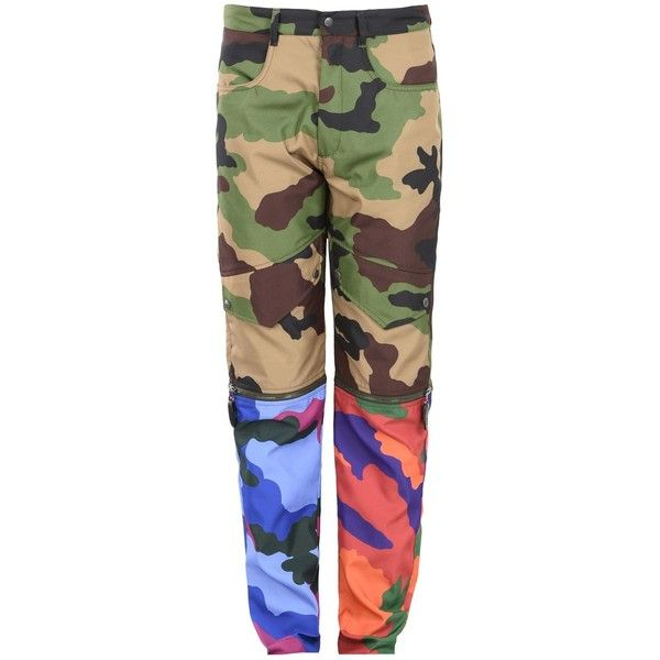 Moschino Trousers ($860) ❤ liked on Polyvore featuring men's fashion, men's clothing, men's pants, men's casual pants, military green, men's high rise pants, mens high waisted pants, mens camouflage pants, mens camo pants and mens olive green pants