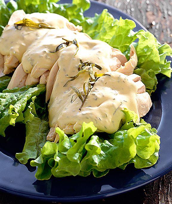 Rimmad kyckling med kall dragons�s | Recept.nu