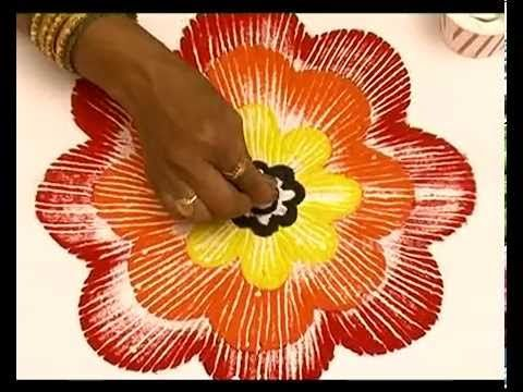 Diwali special rangoli design - Multicolored flower rangoli - YouTube