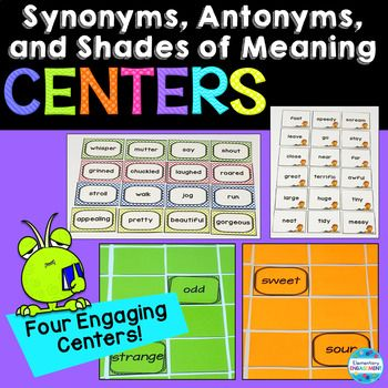 """***This is a new product. The price will be marked 50% off until the end of the day on Tuesday, September 19. These activities offer a variety of engaging, hands-on practice for your students to practice synonyms, antonyms, and shades of meaning. Here's what's included. *Synonym matching cards with three suggested activities *Antonym matching cards with three suggested activities *""""Monster"""