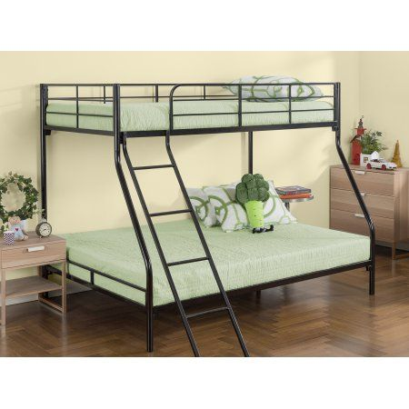 Zinus Easy Assembly Quick Lock Metal Bunk Bed, Black