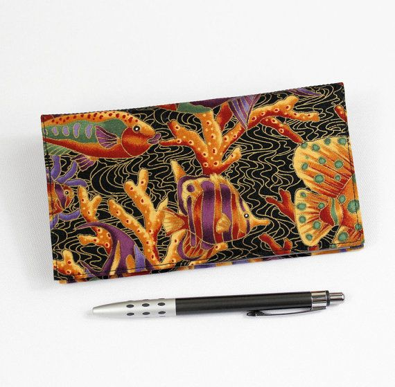 Fish Fabric Checkbook Cover for Duplicate Checks by QuiltSewCover