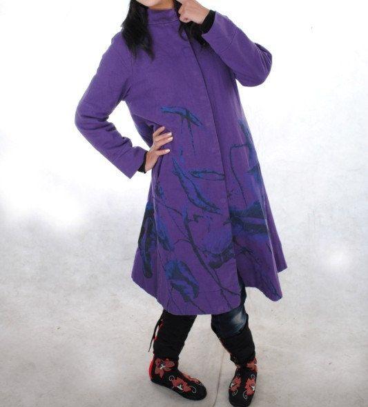 fashion spring tunic Purple long Cotton coat por MaLieb en Etsy