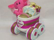 "Windeltorte -Kinderwagen ""Prinzessin"" Elefant pink"