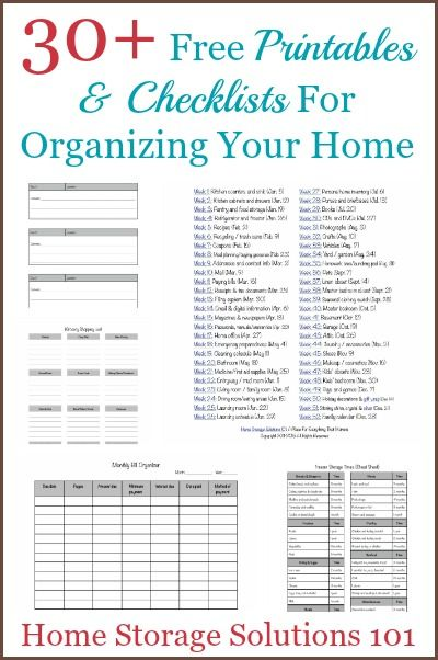 Over 30 free printables and checklists for organizing your home {courtesy of Home Storage Solutions 101}