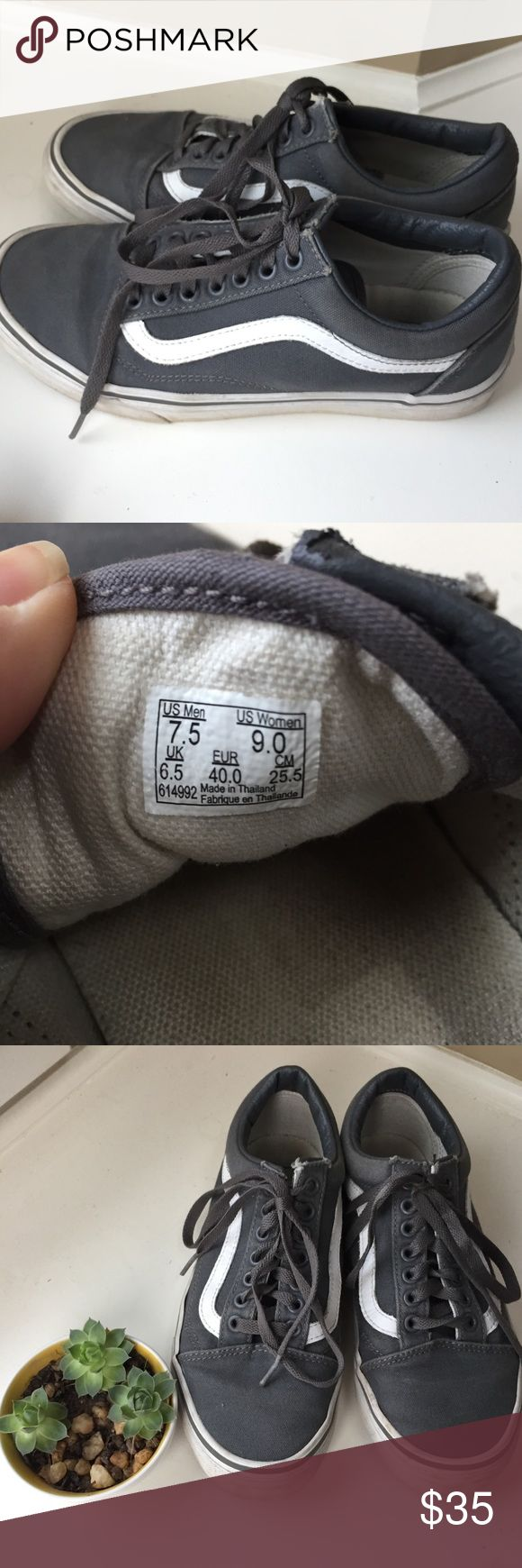 Vans Sk8 low gray Pre loved condition but soles are in great shape. A bit of wear near the top lacing eye (pictured and reflected in the price) Vans Shoes Sneakers