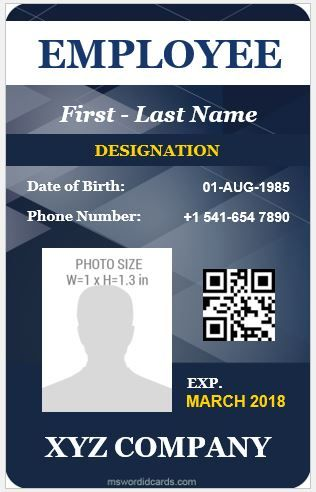Download At Http Mswordidcards Com 5 Best Vertical Design Employee Id Cards Employee Id Card Id Card Template Create Business Cards