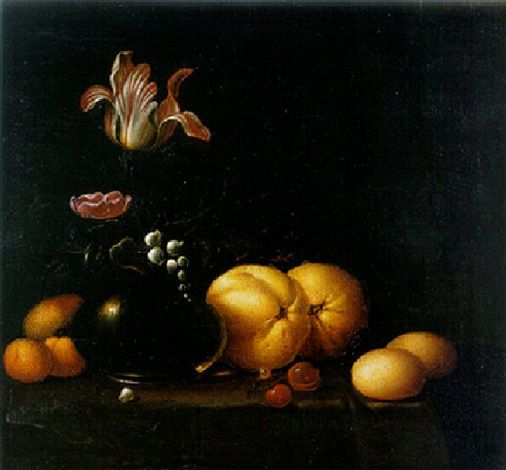 1642 - Aelst, van der Evert - A tulip, a rose and a lily-of-the-valley in a glass vase with a peach, and other fruit on a draped table