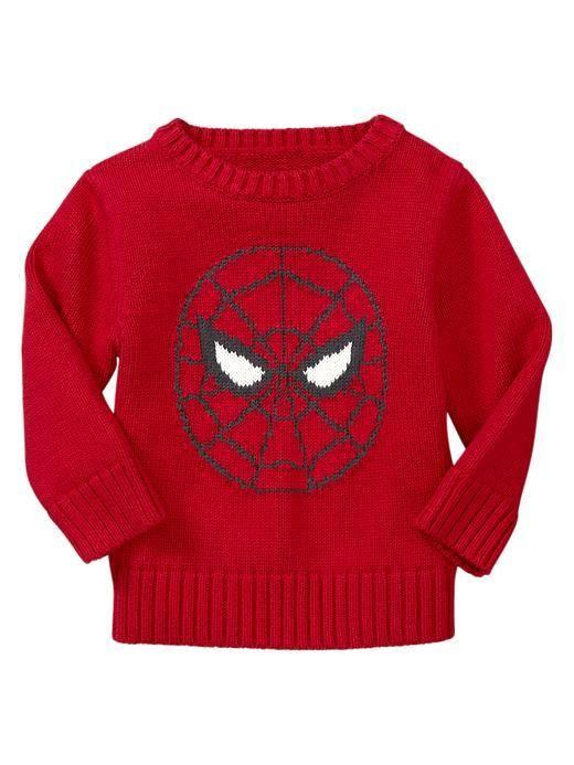 Gap Soft knit with ribbed trim. Long sleeves. Crewneck. Intarsia Spiderman pattern at front.