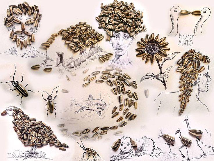 Виктор Нунес - Рисунки из семечек