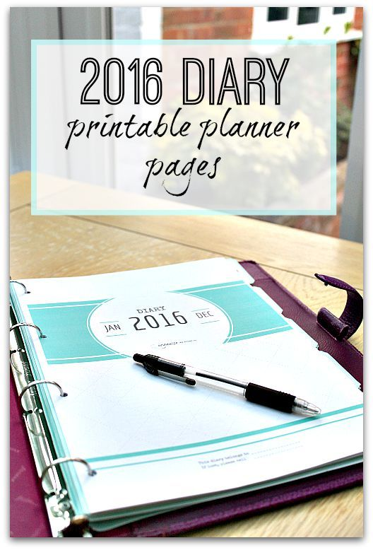 2016 diary planner printables - eBook available to download immediately - get 2016 off to a really organised start by using these fantastic planner pages, including weekly schedule, notes and more