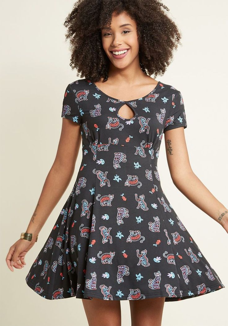 Banned Bubbly Buddy Knit Dress in Patterned Cats in 3X - Short Sleeve A-line Mini by Banned from ModCloth