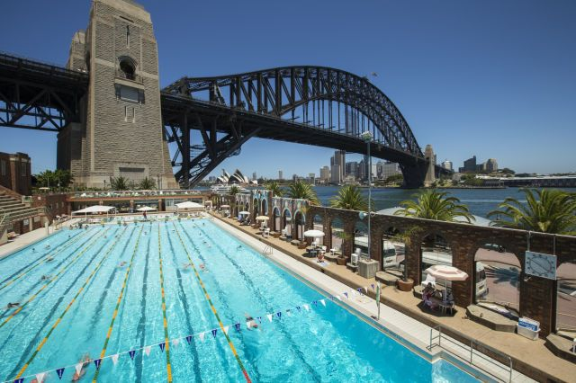 (Oliver Strewe via Getty Images) Amazing Public Swimming Pools Around The World: North Sydney Olympic Pool, Australia (The Sydney Harbour Bridge is one of the most iconic landmarks in the world and the North Sydney Olympic Pool sits right next to it. If you want to enjoy a swim in the blazing Australian sunshine then you'll be in good company after all, a whopping 86 world records have been set in this pool!)