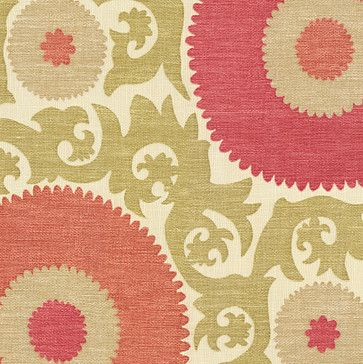 Coral & Green Giant Suzani Fabric - eclectic - Upholstery Fabric - Loom Decor