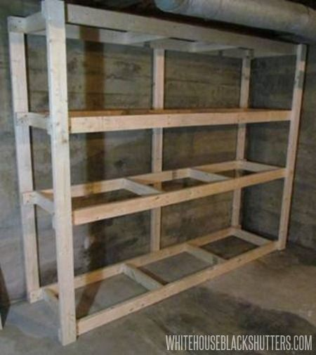 Cheap Garage Shelves Ideas | How to Make a Basement Storage Shelf - white house black shutters