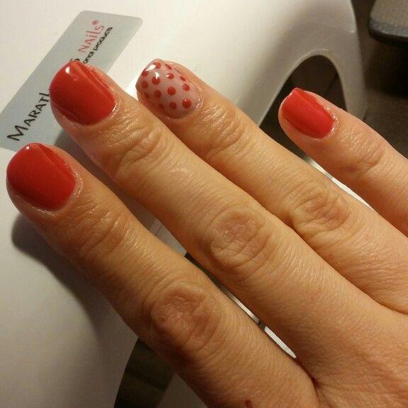 Bluesky soak off gel polish with polka dots nail design