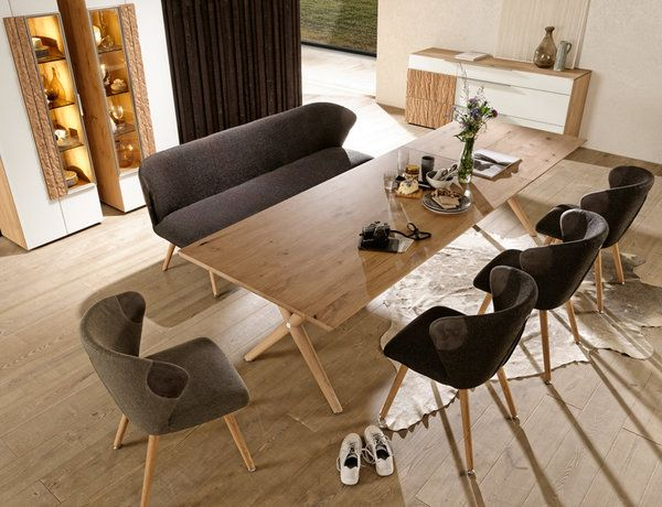 The New V Alpin Dining Table With An Optional Hatch Insert Can Be Elongated For Additional 100 Cm Of Table Natural Wood Furniture Furniture Upholstered Chairs